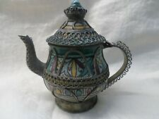 Vintage Porcelain Small Tea Pot with Metalwork