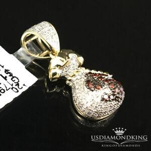 10K Yellow Gold Genuine .35ct Brown Diamond American $ Money Bag Pendant Charm