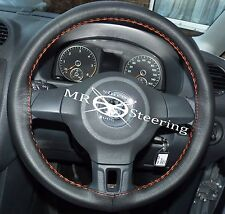 FOR VW POLO MK5 6R 09-14 REAL BLACK LEATHER STEERING WHEEL COVER ORANGE STITCH