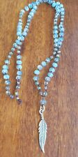 Yoga Jewellery Silver925 Feather Meditation Necklace Hemp Mystic Faceted Crystal