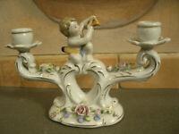 Candelabro in Ceramica a 2 Bracci con Bambino con Arco,Dec.Fiori Made in Germany