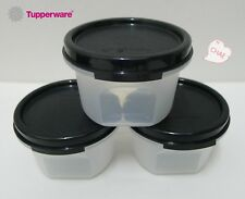 3 x Tupperware Modular Mates ROUND I : 200ml (Black / Red)