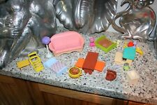FISHER PRICE AND OTHER DOLL HOUSE FURNITURE COUCH BEDS LAMP LAWN CHAIR GRILL ETC