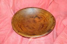 Wonderful Primitive Turned Wooden Bowl With Original Reddish Brown Finish
