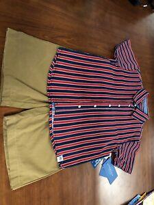 Perry Ellis Boys 2pcs Outfit Shirt & Shorts Red/Navy(Top) Khaki (Bottom) RP5B82E