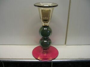 Very Pretty Coloured Glass Candlestick with Double Ball Stem