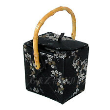 Black/Silver+Gold Chinese 'Take-Out-Box' Shape Handbag (Cherry Blossom Brocade)