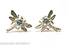 9ct Gold Blue Topaz Dragonfly Stud earrings Gift Boxed Made in UK