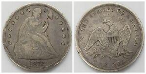 US Seated Liberty 1872 $1 Silver Dollar