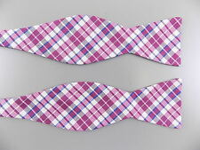 "BLOOMINGDALES $95 Purple Plaids & Checks MEN WIDTH 2.5"" SILK BLEND Bow Tie B15"