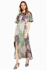 Topshop Austin Floral Print Midi Maxi Rixo Dress Sz 8 Angel Sleeves Patchwork