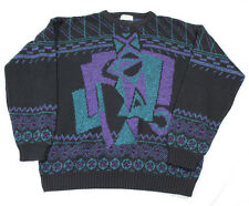 Area By Tag Made In USA Vintage 80s 90s Purple Teal Sweater Hip Funky Wild Large