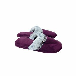 Isotoner Maroon Terry Clogs 9.5-10 Faux Fur Slippers Comfort Cozy Slip Ons
