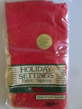 Holiday Settings Red Dinner Napkins Linens Set of 4 100% Polyester 17 X 17 NIP