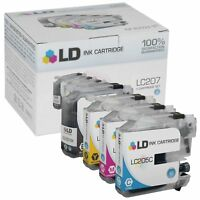 LD 4 Pack LC207 and LC205 Comp HY Black & Color Ink Set for Brother