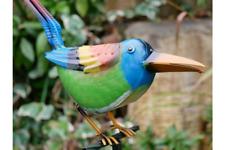 Perching Bird Garden Ornament Stake Metal Animal Sculpture Border Decoration New