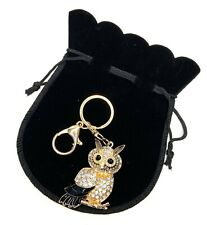 Rose Gold Crystal Owl Keying with Gift Bag Ladies Gift Christmas Present