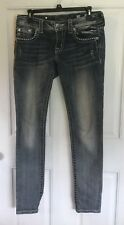 Size 27 Miss Me dark destressed jeans/studded front/back pockets altered hem EUC
