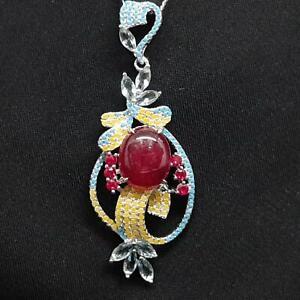 World Class 10.10ctw Mozambique Ruby & Multi-Color Sapphire 925 Silver Necklace
