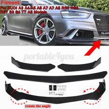 Bright Black Car Front Bumper Lip For AUDI A3 A4 A6 A8 Q3 Q5 Q7 RS5-7 S3 S4 TT