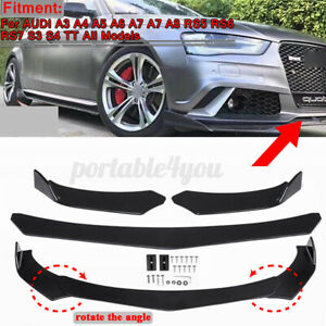 Bright Black Car Front Bumper Lip For AUDI A3 A4 A6 A8 Q3 Q5 Q7 RS5-7 S3 S4 TT
