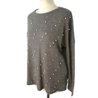 Zara Size S 10 12 14 Grey Pearl Embellished Long Sleeve Jumper Oversize Slouchy