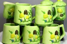 1970s Vintage Kitsch Olive Green Mushroom Ceramic Kitchen Set