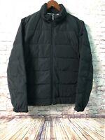 Men's Puffer Coat Jacket Size Medium Black Full Zip NAUTICA NEW