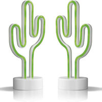 2er Set EASYmaxx Kaktus Dekoleuchte in Neon-Optik LED Kaktuslampe Dekolampe Grün