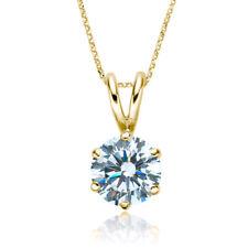 1/5ct I1/HI Natural Diamond 9K Yellow Gold Solitaire Diamond Pendant Necklace