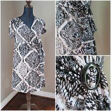 Alfani Faux Wrap Dress Petite Medium Black White Tan Print V Neck Stretch