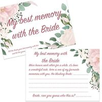 1,8,16,24,32 BEST MEMORY WITH BRIDE CARDS FLORAL HEN NIGHT PARTY BRIDAL SHOWER