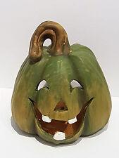 Windlicht Kürbis grün Fratze Halloween Keramik Herbst witzig Deko