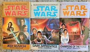 JEDI ACADEMY TRILOGY 1-3 Star Wars EU Expanded Universe PB 3 Book Lot Andersson