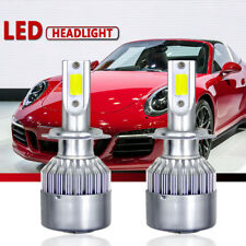 72W 7200LM COB LED Headlight Low Beam H7 6000K White Bulbs Pair