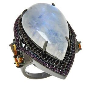 Meher's Jewelry Black Rhodium Sterling Silver Moonstone Multi gemstone Ring Sz 9