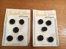 Vintage black glass buttons on original cards