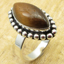 Size 7.75 ! Silver Plated Metal Jewelry Yellow & Brown Tiger's Eye Economic Ring