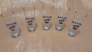 MALIBU RUM 2 OZ. SHOT GLASSES, set of 5 w/different flavors on label, new, 4 in