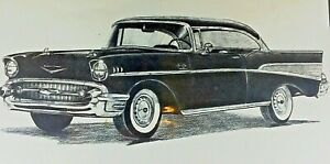"""Dale Adkins Sketch Art Chevy Bel Air Sport Coupe 1957 Sealed 11"""" x 14"""""""