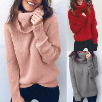 Women High Neck Baggy Tops Chunky Knitted Sweater Jumper Pullover Tops Knitwear