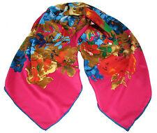 "Women's 100% Twill Silk Scarf / Pink / Floral / 34"" X 34"""