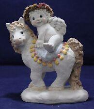 Large Cast Art Dreamsicle Cherub Figurine on Pony/horse Kristin '94