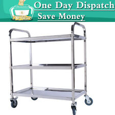3 Tier Stainless Kitchen Storage Trolley Cart With Wheels Catering Dining UK