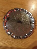 Vintage Silver Plate EPNS Small Round Fluted Tray Salva 15.5cm