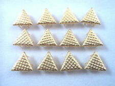 """12 Gold Tone Diagonal Weave Triangle Studs Clothing Decoration 1/2"""" Leather Work"""