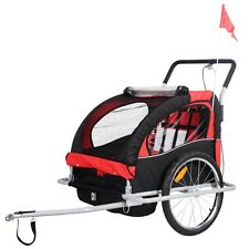 2 in 1 Double Child Baby Bike Trailer Carrier Bicycle Jogger Stroller Us Ship