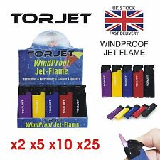 5 x TOR JET LIGHTERS, windproof, CHEAPEST ON EBAY BLOWTORCH FLAME, torjet