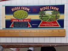 1930's Ridge Brand Can Label  4 1/4 x 11 1/8. J.Langrall & Bro. Baltimore, MD