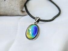 Bohemian Silver Oval Shaped Mood Pendant Necklace
